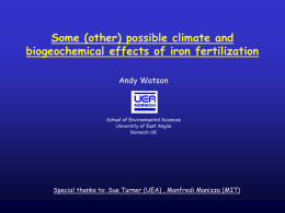 Some (other) possible climate and biogeochemical effects of iron fertilization Andy Watson  School of Environmental Sciences University of East Anglia Norwich UK  Special thanks to: Sue.