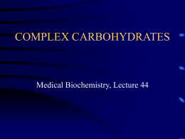 COMPLEX CARBOHYDRATES  Medical Biochemistry, Lecture 44 Lecture 44, What to Study: - Know the structural components and differences between the glycoconjugate types - Know the.