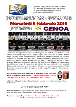 juventus vs genoa match day special tour