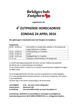 24 april 2026 Horeca-kroegentocht in Zutphen