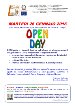 Manifesto Open Day 2016 - Liceo Statale CARLO TROYA