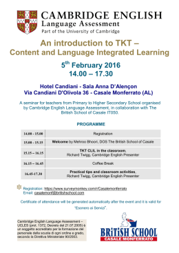 An introduction to TKT –
