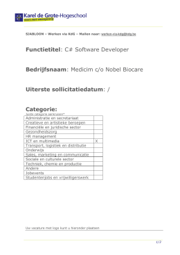 Functietitel: C# Software Developer Bedrijfsnaam: Medicim c/o