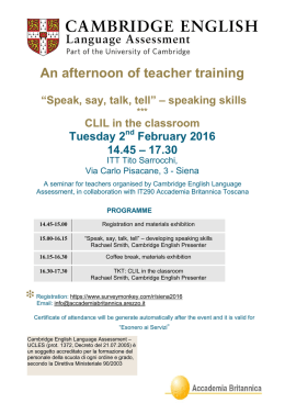 Speak, Say, Talk, Tell - speaking skills & CLIL in the classroom