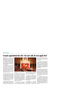 "Senate appointments: the ""do not call, do not apply list"""