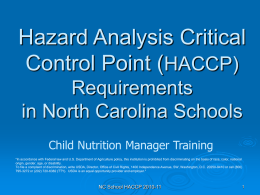 Hazard Analysis Critical Control Point ( HACCP) Requirements