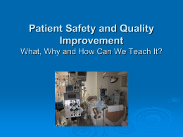 Patient Safety and Quality Improvement
