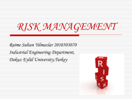 RISK MANAGEMENT Raime Sultan Yılmazlar 2010503070 Industrial Engineering Department, Dokuz Eylül University,Turkey