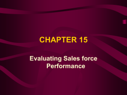 CHAPTER 15 Evaluating Sales force Performance