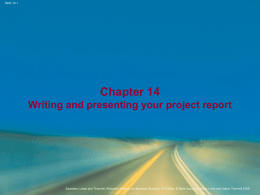 Chapter 14 Writing and presenting your project report