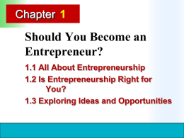 Should You Become an Entrepreneur? Chapter 1