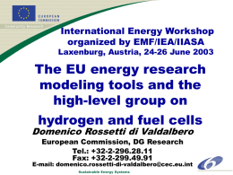 The EU energy research modeling tools and the high-level group on
