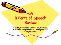 8 Parts of Speech Review Nouns, Pronouns, Verbs, Adjectives, Adverbs, Prepositions, Interjections,