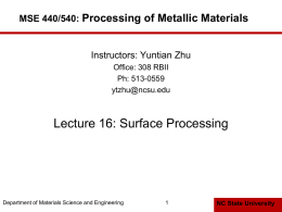 Lecture 16: Surface Processing Processing of Metallic Materials MSE 440/540: Instructors: Yuntian Zhu