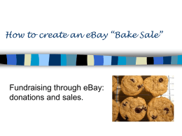 "How to create an eBay ""Bake Sale"" Fundraising through eBay:"