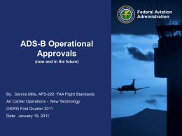 ADS-B Operational Approvals Federal Aviation Administration