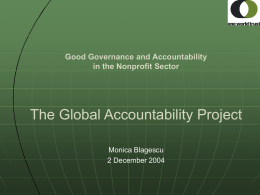 The Global Accountability Project Good Governance and Accountability in the Nonprofit Sector