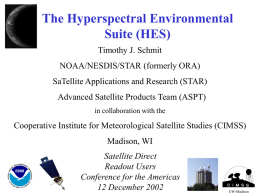 The Hyperspectral Environmental Suite (HES)