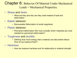 Chapter 6: Behavior Of Material Under Mechanical Loads = Mechanical Properties. • Stress