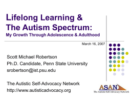 L ifelong Learning & The Autism Spectrum: