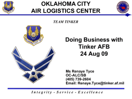 OKLAHOMA CITY AIR LOGISTICS CENTER Doing Business with Tinker AFB