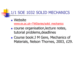 1/1 SOE 1032 SOLID MECHANICS