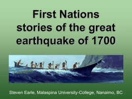 First Nations stories of the great earthquake of 1700