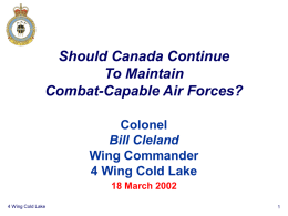 Should Canada Continue To Maintain Combat-Capable Air Forces? Colonel