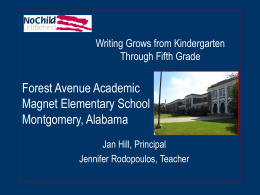 Forest Avenue Academic Magnet Elementary School Montgomery, Alabama Writing Grows from Kindergarten