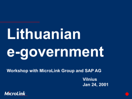 Lithuanian e-government Workshop with MicroLink Group and SAP AG Vilnius