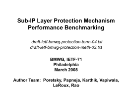 Sub-IP Layer Protection Mechanism Performance Benchmarking draft-ietf-bmwg-protection-term-04.txt draft-ietf-bmwg-protection-meth-03.txt