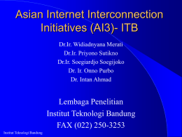 Asian Internet Interconnection Initiatives (AI3)- ITB