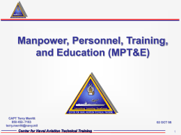 Manpower, Personnel, Training, and Education (MPT&E) Center for Naval Aviation Technical Training 1