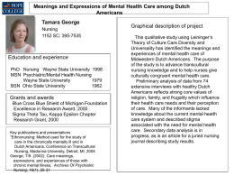 Meanings and Expressions of Mental Health Care among Dutch Americans Tamara George