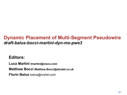 Dynamic Placement of Multi-Segment Pseudowire draft-balus-bocci-martini-dyn-ms-pwe3 Editors: Luca Martini
