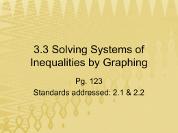3.3 Solving Systems of Inequalities by Graphing Pg. 123