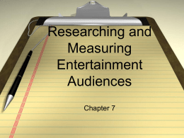 Researching and Measuring Entertainment Audiences