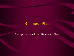 Business Plan Components of the Business Plan