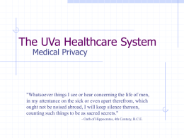 The UVa Healthcare System Medical Privacy