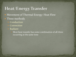 Movement of Thermal Energy: Heat Flow Three methods Conduction Convection