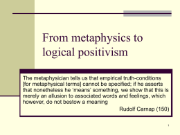 From metaphysics to logical positivism