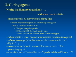 3. Curing agents Nitrite (sodium or potassium)….. and nitrate