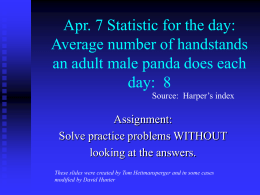 Apr. 7 Statistic for the day: Average number of handstands