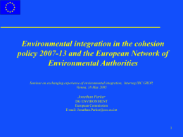 Environmental integration in the cohesion Environmental Authorities