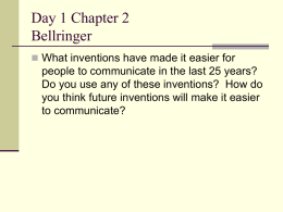 Day 1 Chapter 2 Bellringer