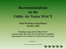 Recommendations on the Utility Air Toxics MACT Final Working Group Report