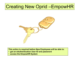 –EmpowHR Creating New Oprid get an eAuthentication User ID and password