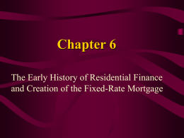 Chapter 6 The Early History of Residential Finance