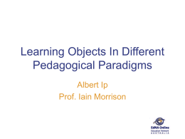 Learning Objects In Different Pedagogical Paradigms Albert Ip Prof. Iain Morrison
