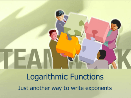 Logarithmic Functions Just another way to write exponents